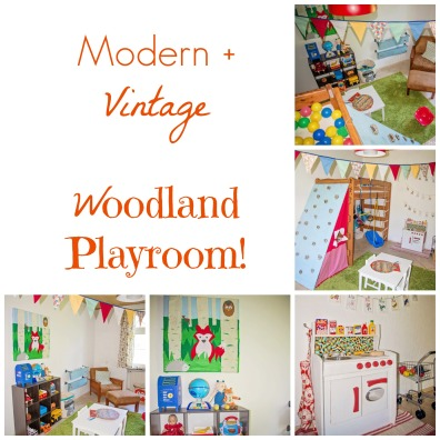 Modern and vintage elements combine in this DIY woodland playroom!