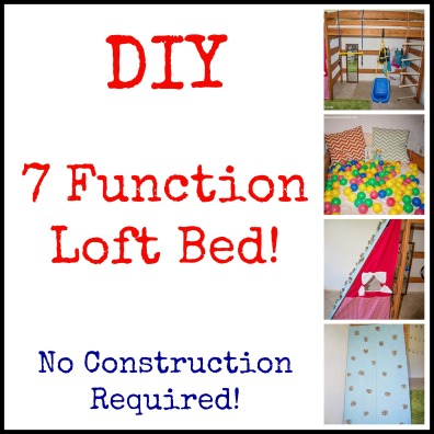 This loft bed has a rock wall, a puppet theater, a ball pit, reading nook, dress up center, swings, a ladder, rings, and of course a bed! ALL IN ONE!