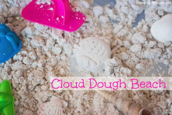 Cloud Dough Beach Sensory Bin by Babes in Deutschland