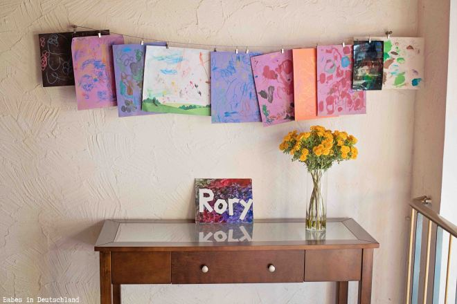 Display children's artwork on a wire with clips!