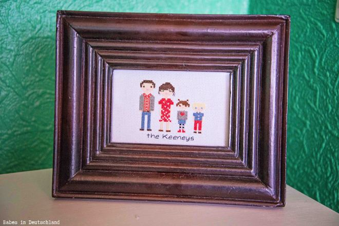 Our family cross stitch portrait!